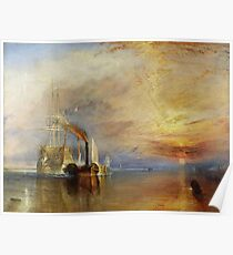 The Fighting Temeraire, 1839, by Joseph Mallord William Turner. on White Poster
