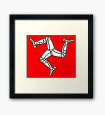 MANX FLAG, Isle of Man, MANX, LEGS, Brattagh Vannin, Triskelion, Ny tree cassyn Framed Print