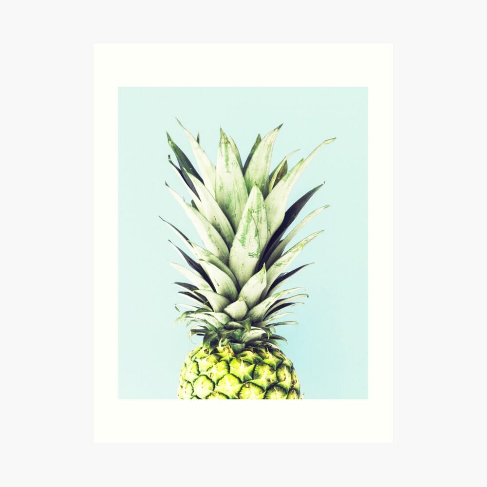 Ananas auf Blau, Ananas-Top, Minimal Kunstdruck