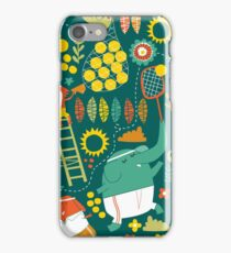 tennis on teal iPhone Case/Skin