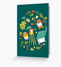 tennis on teal Greeting Card