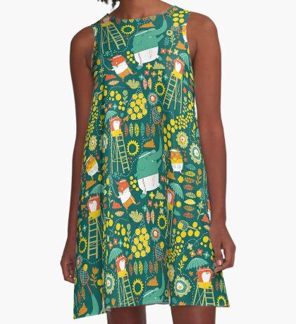 tennis on teal A-Line Dress