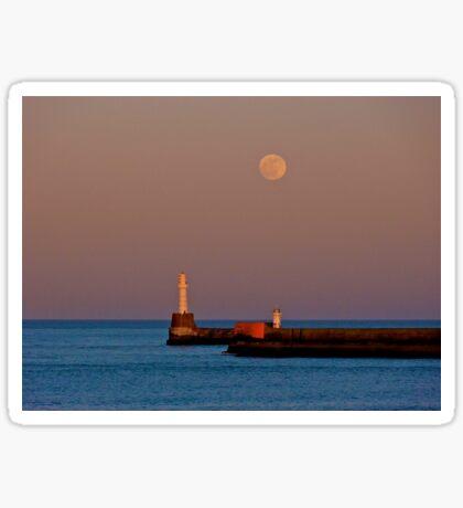 Full moon over Aberdeen pier Sticker