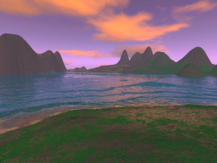 sunset over the sea by eraline