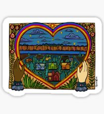 Rainbow Heart with Loving Hands / Together We Care for Land, Water, & Home / Tending Our Roots Sticker