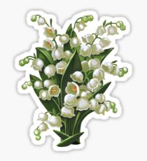 Lilies of the valley - acrylic painting Sticker