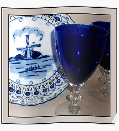 Delft Plate and Blue Goblets Poster