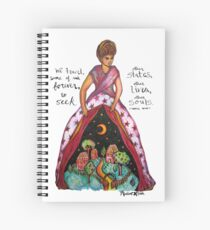 Anais Nin Zitat / / starke Frau Abbildung / / rosa Blumenmuster, Mond, Haus, weibliche Energie / symbolische Kunst Spiralblock