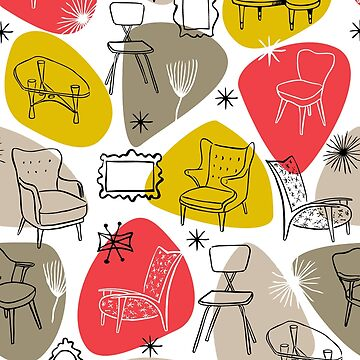 Mid Century Modern Furniture with Tables Chairs and Frames by vinpauld