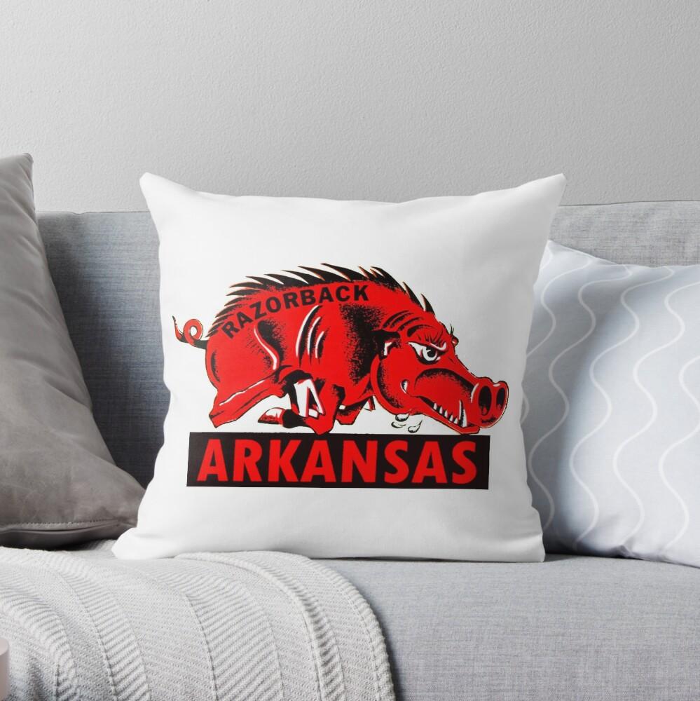 Arkansas Razorback Vintage Travel Decal Throw Pillow