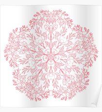Spring Cherry blossom Mandala- Peach / coral Poster