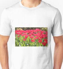 Neon Red Tulips Unisex T-Shirt