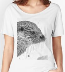 Eurasian Otter in a Snowstorm Women's Relaxed Fit T-Shirt