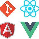 Git React Angular Vue sticker pack by devtee