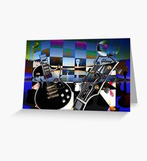 Guitars and Two Moons Greeting Card