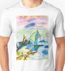 Sailboat bird and fat lady on the beach Unisex T-Shirt