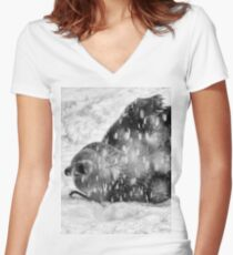 Grizzly Bear Frolicking in a snowstorm Women's Fitted V-Neck T-Shirt