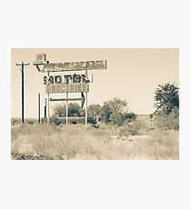 Weathered memoir Whiting Bros Motel sign along Route 66 Photographic Print