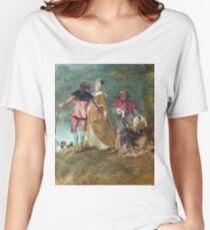 Jean - Antoine Watteau - Detail Of Pilgrimage On The Isle Of Cythera Women's Relaxed Fit T-Shirt