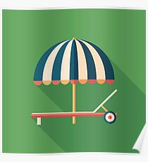 Parasol and Sunbed Poster