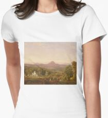 Jasper Francis Cropsey - Autumn Landscape, Sugar Loaf Mountain, Orange County, New York Womens Fitted T-Shirt