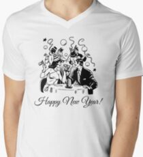Happy New Year Couple of some bygone age Mens V-Neck T-Shirt