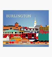 Burlington, Vermont - Skyline Illustration by Loose Petals Photographic Print