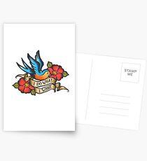 Ich mache, was ich will Vintage Bluebird und Rose Tattoo Postkarten