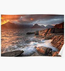 Elgol Stormy Sunset Poster