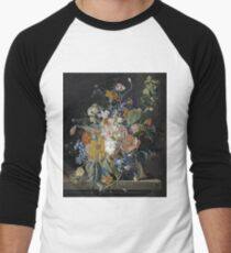 Jan Van Huysum - Poppies, Hollyhock, Morning Glory, Viola, Daisies Men's Baseball ¾ T-Shirt