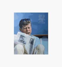 Painting John F. Kennedy and quotation Art Board