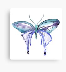 Blue Green Watercolor Butterfly Canvas Print
