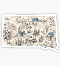 South Dakota Vintage Picture Map Sticker