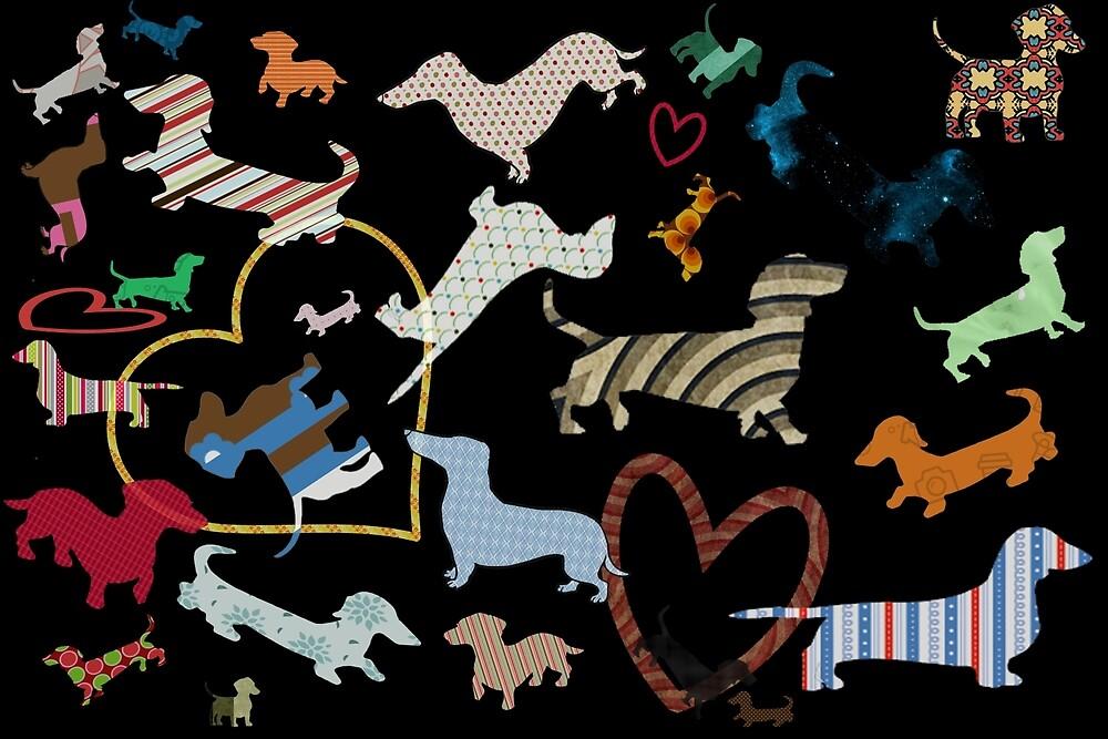 dachshund dog. love. pattern by monicamarcov