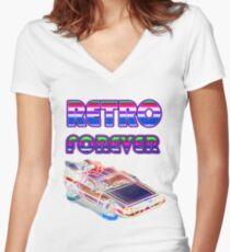RETRO FOREVER DELOREAN Women's Fitted V-Neck T-Shirt