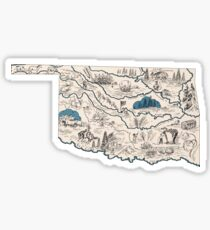 Oklahoma Vintage Picture Map Sticker