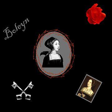 Anne Boleyn print black and red by chihuahuashower