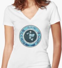 Flat Earth Designs - Antarctica Journey to the Edge of the Dome 2017 Women's Fitted V-Neck T-Shirt