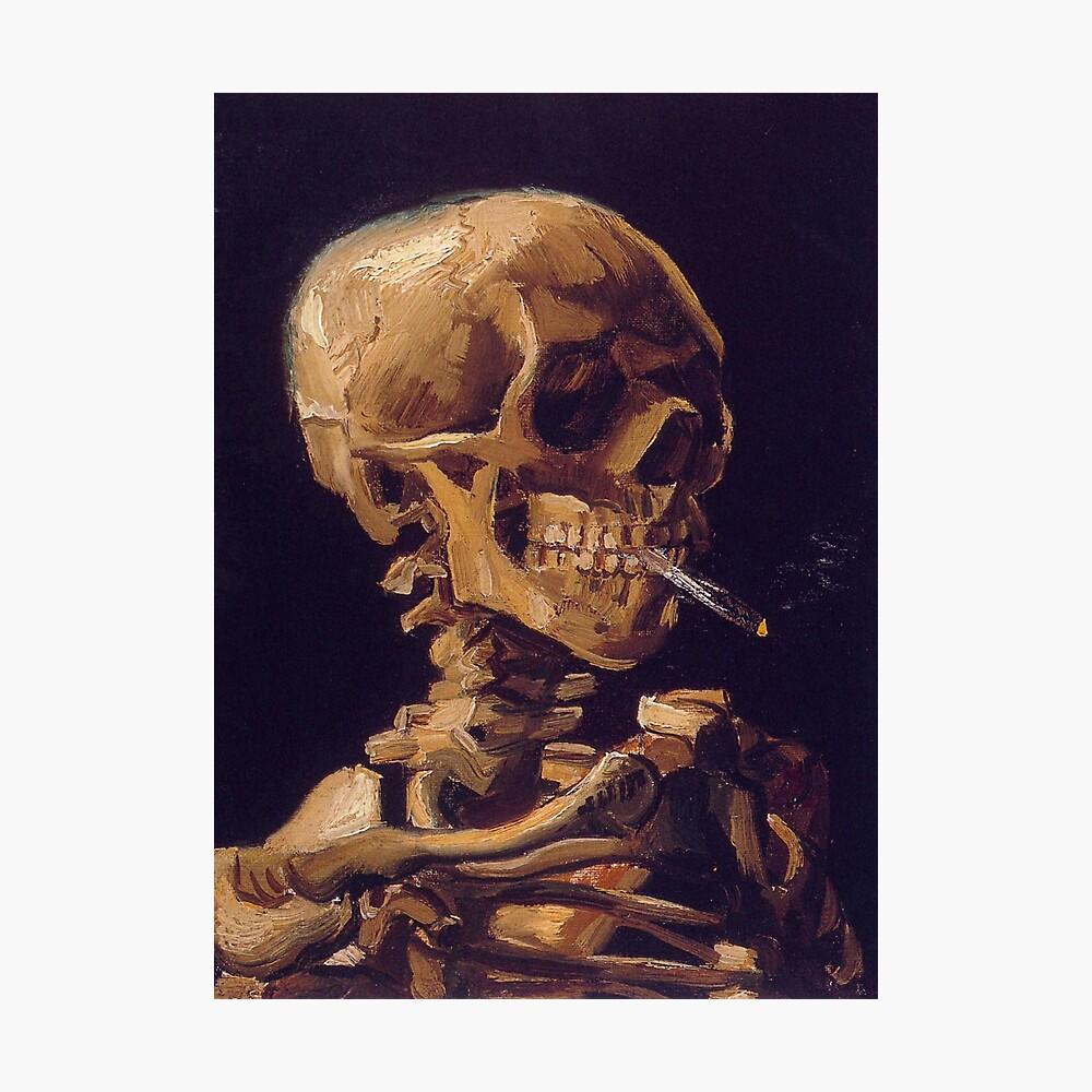 """Cráneo con un cigarrillo encendido"" de Vincent Van Gogh Lámina fotográfica"