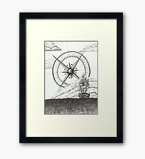 Ship and Compass Framed Print