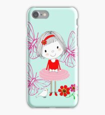 Kids Cute Whimsy Little Girl & Butterflies Illustration iPhone Case/Skin