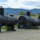 Pufferbellies All In A Row - Sumpter Valley Railroad, Baker County, OR by Rebel Kreklow