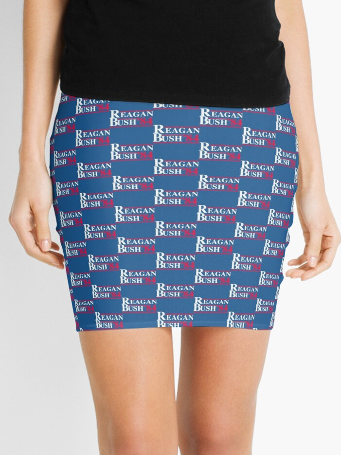 Reagan Bush '84 Retro Logo Red White Blue Election Ronald George 1984 84  Campaign T Shirt Hoodie Sticker Retro 80s 1980s Throwback | Mini Skirt