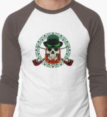 Leprechaun Skull with Crossed Pipes Men's Baseball ¾ T-Shirt