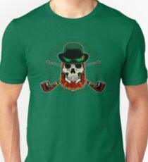 Leprechaun Skull with Crossed Pipes Unisex T-Shirt
