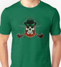 Leprechaun Skull with Crossed Pipes Unisex T-Shirt