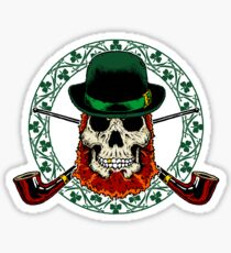 Leprechaun Skull with Crossed Pipes Sticker