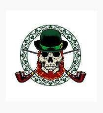 Leprechaun Skull with Crossed Pipes Photographic Print