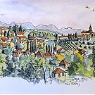 Siena, Italy. 2015© pen and wash by Elizabeth Moore Golding