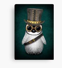 Steampunk Baby Penguin Teal Blue Canvas Print